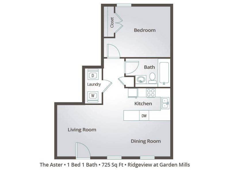 The Aster - 1 Bedroom / 1 Bathroom Image