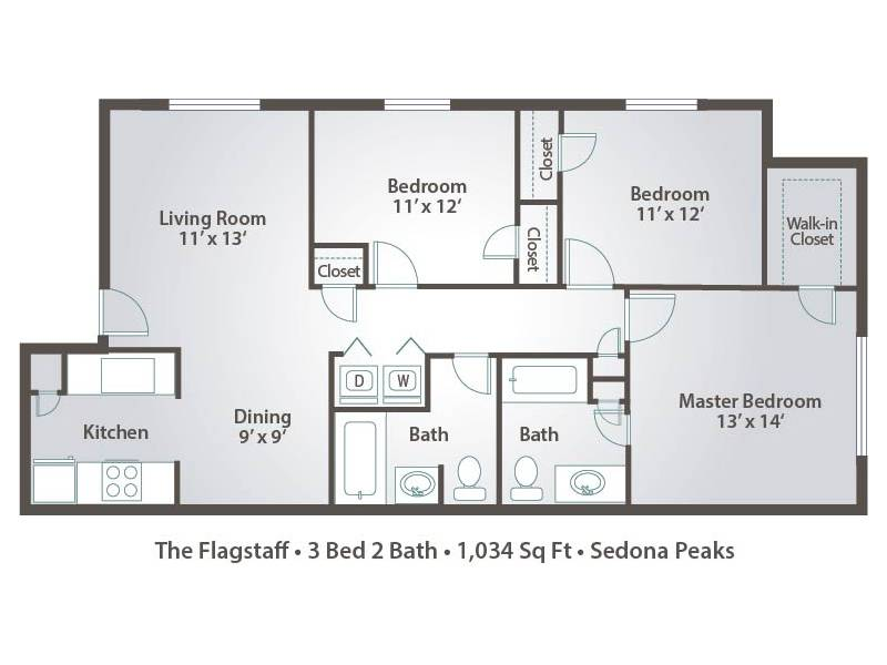 3 bedroom apartment floor plans pricing sedona peaks for Three bedroom apartment layout
