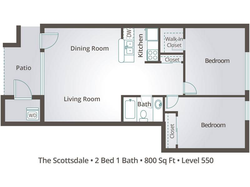 The Scottsdale - 2 Bedroom / 1 Bathroom Image