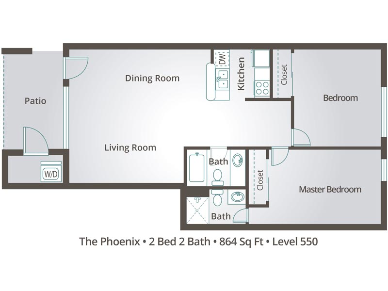 The Phoenix - 2 Bedroom / 2 Bathroom Image