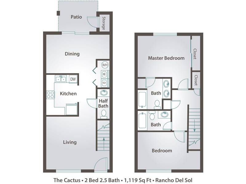 3 bedroom apartment floor plans pricing rancho del sol for 2 bedroom 2 bath apartment floor plans