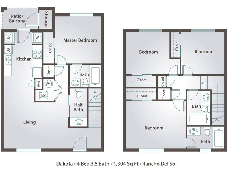 4 bedroom apartment floor plans pricing rancho del sol for Dakota floor plan