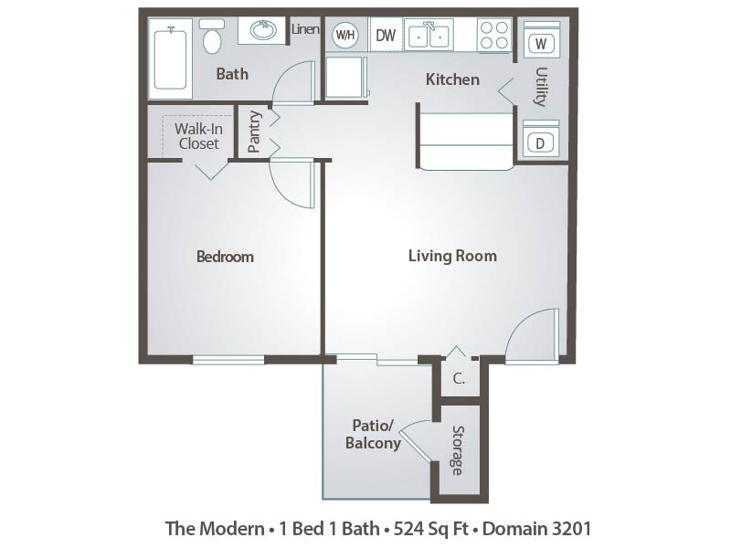 1 Bedroom Apartment Floor Plans With Walk In Closet - Interior Design