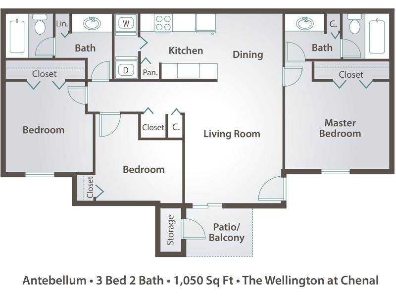 The Antebellum - 3 Bedroom / 2 Bathroom Image