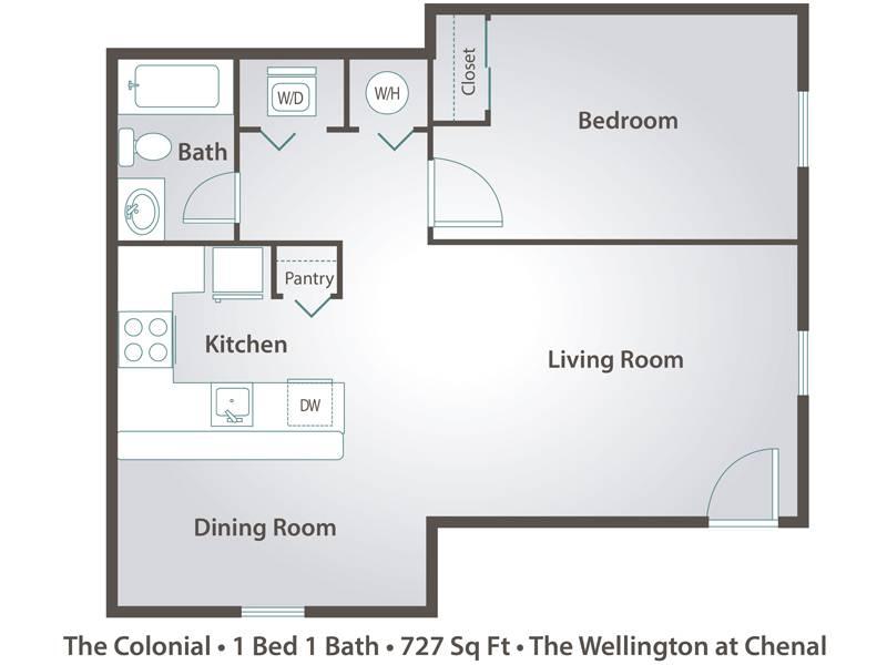 The Colonial  - 1 Bedroom / 1 Bathroom Image