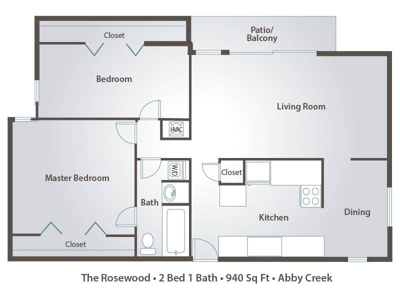 The Rosewood - 2 Bedroom / 1 Bathroom Image