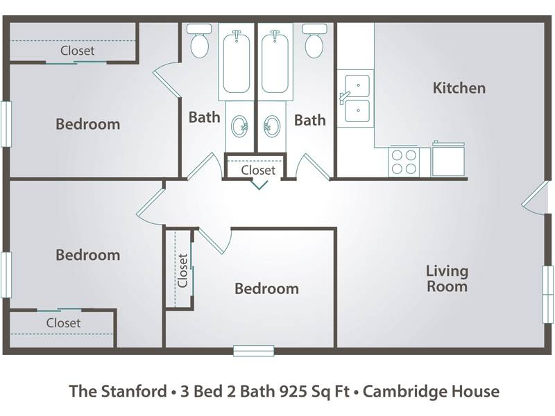 3 bedroom apartment floor plans pricing cambridge for Three bedroom two bath floor plans