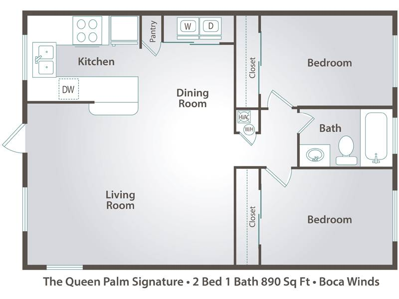 The Queen Palm - 2 Bedroom / 1 Bathroom Image
