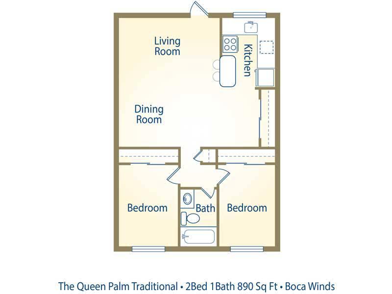 The Queen Palm - 2 Bedroom / 1 Bathroom Image
