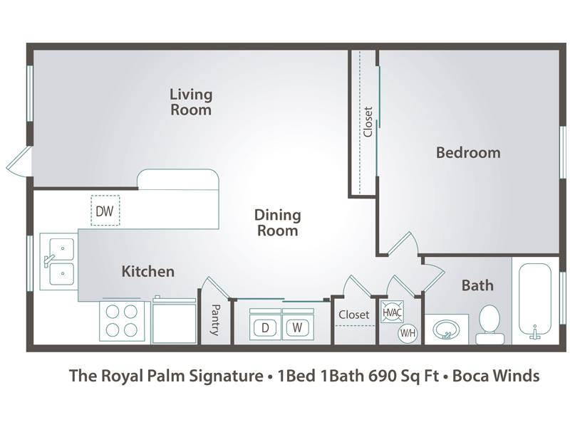 The Royal Palm - 1 Bedroom / 1 Bathroom Image