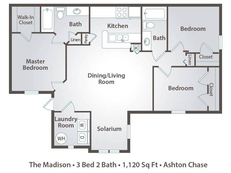 The Madison - 3 Bedroom / 2 Bathroom Image