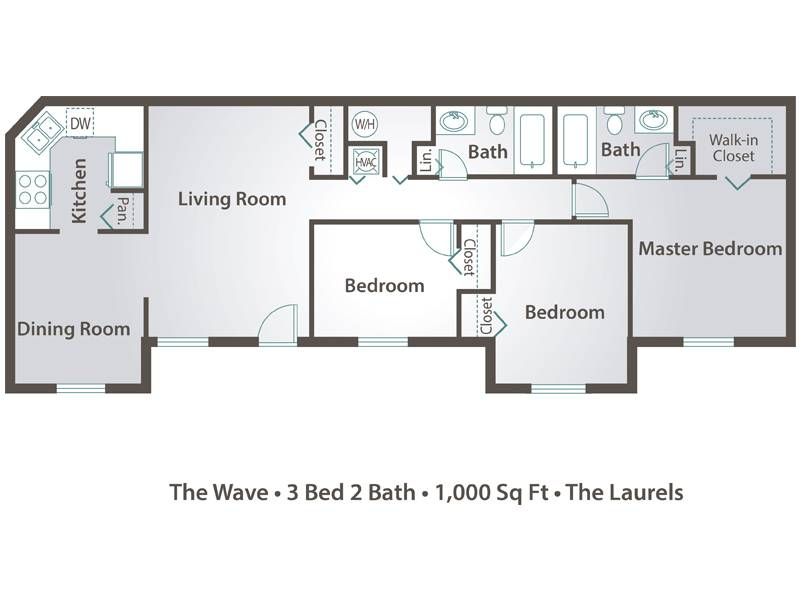 The Wave - 3 Bedroom / 2 Bathroom Image