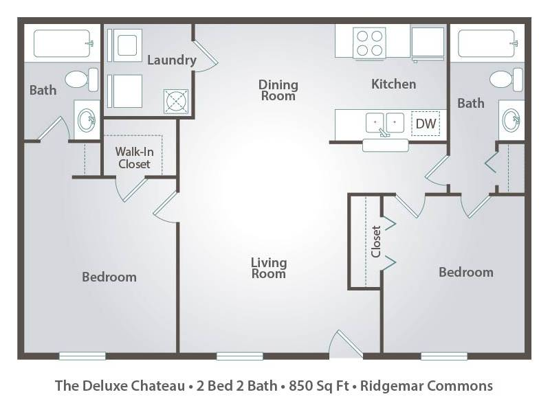 Apartment floor plans pricing ridgemar common in for 2 bedroom 2 bath apartment floor plans