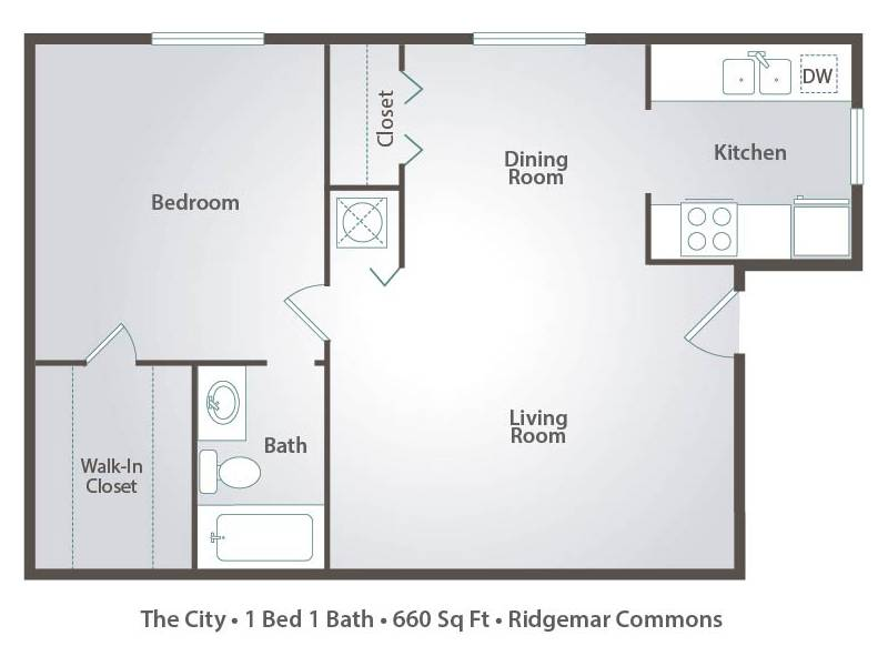 The City - 1 Bedroom / 1 Bathroom Image