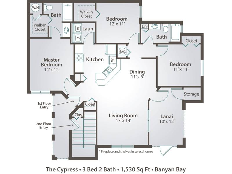 The Cypress - 3 Bedroom / 2 Bathroom Image