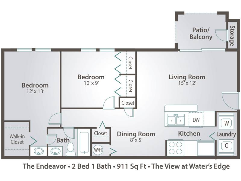 The Endeavor - 2 Bedroom / 1 Bathroom Image