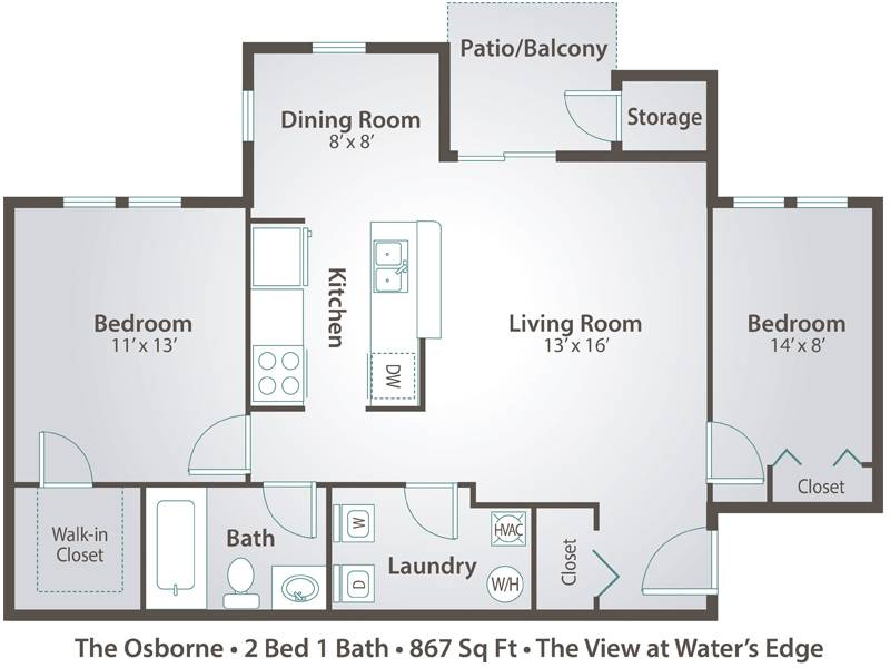 The Osborne - 2 Bedroom / 1 Bathroom Image