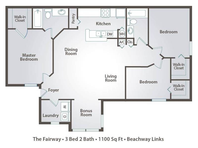 1 Bedroom Apartment Floor Plans Pricing Beachway Links