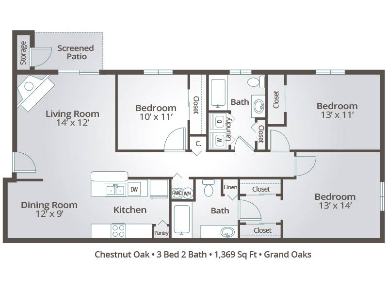 Chestnut Oak - 3 Bedroom / 2 Bathroom Image