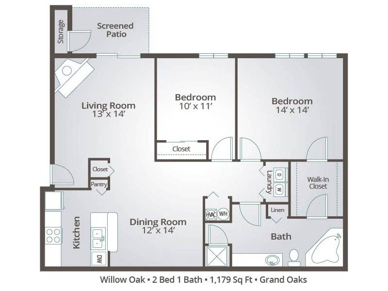 Willow Oak - 2 Bedroom / 1 Bathroom Image