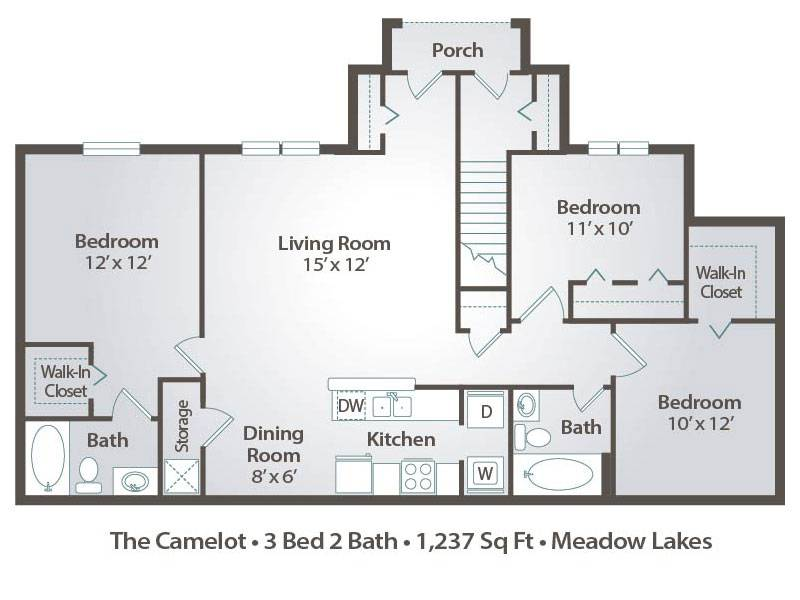 The Camelot - 3 Bedroom / 2 Bathroom Image