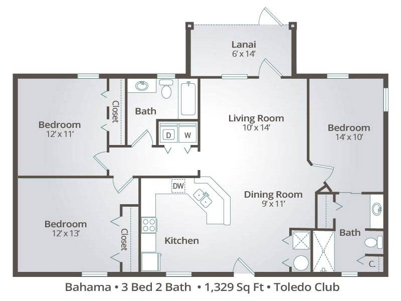 The Bahama - 3 Bedroom / 2 Bathroom Image