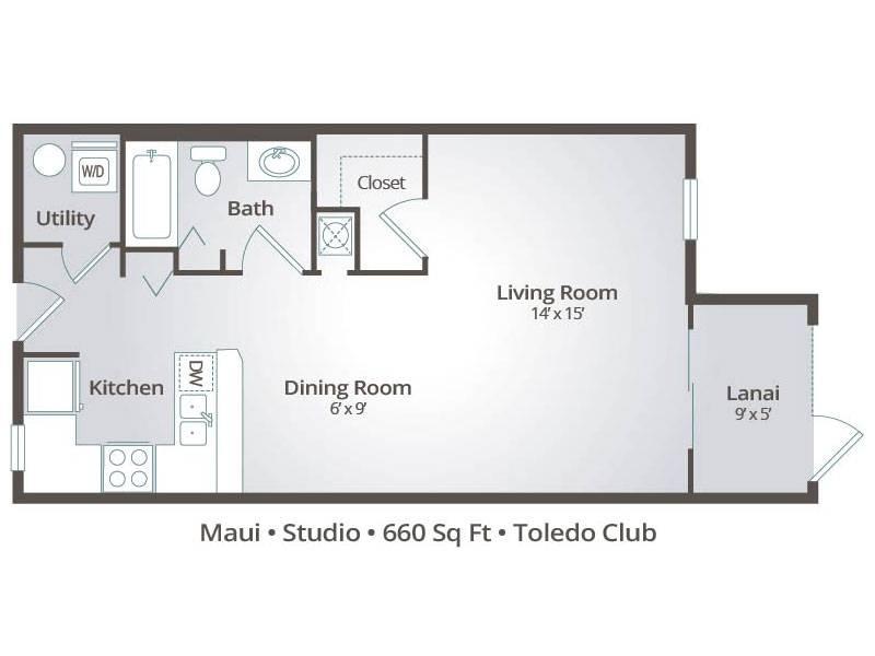 The Maui - 0 Bedroom / 1 Bathroom Image