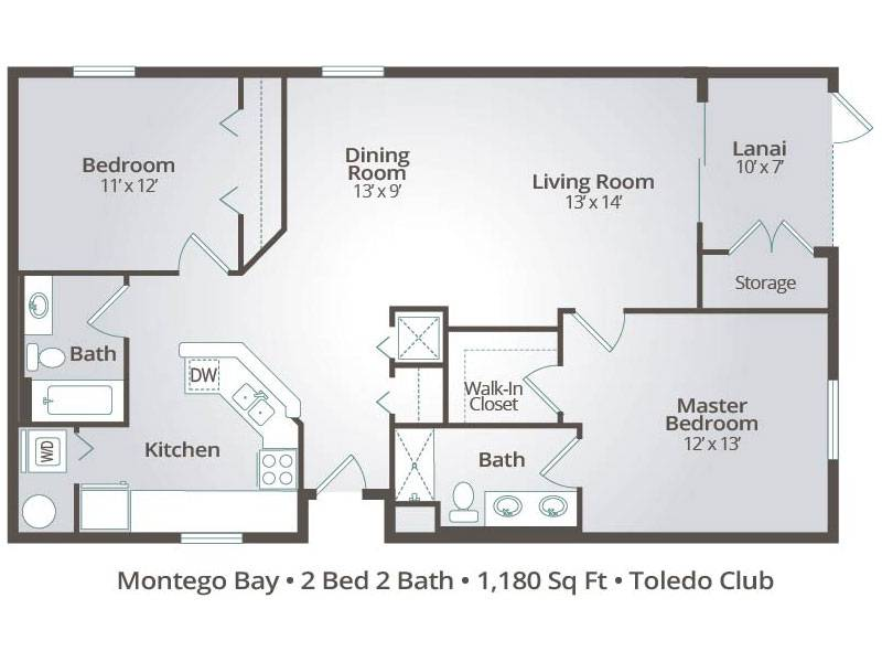 The Montego Bay - 2 Bedroom / 2 Bathroom Image