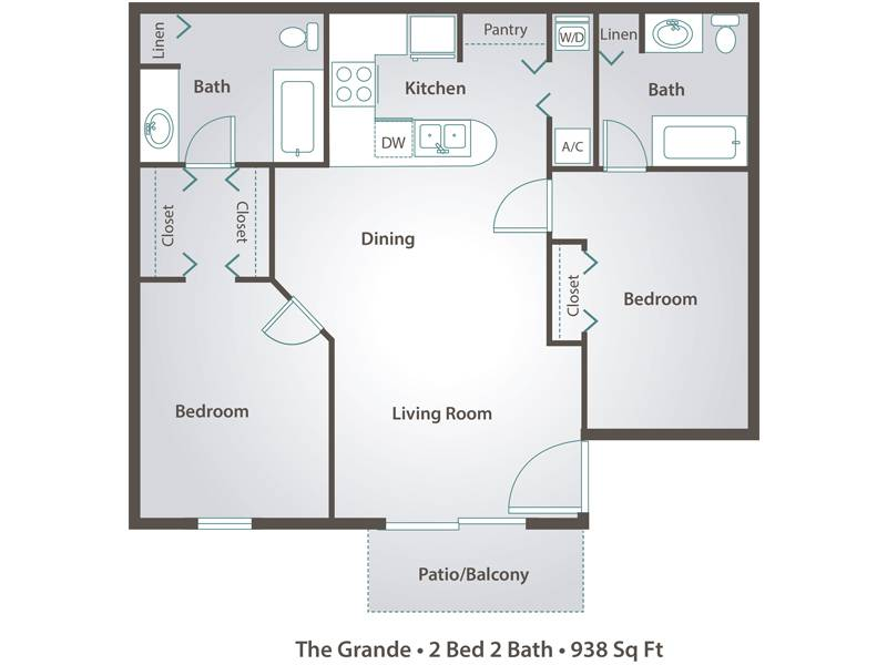 Apartment floor plans pricing adele place in orlando fl for 2 master bedroom floor plans