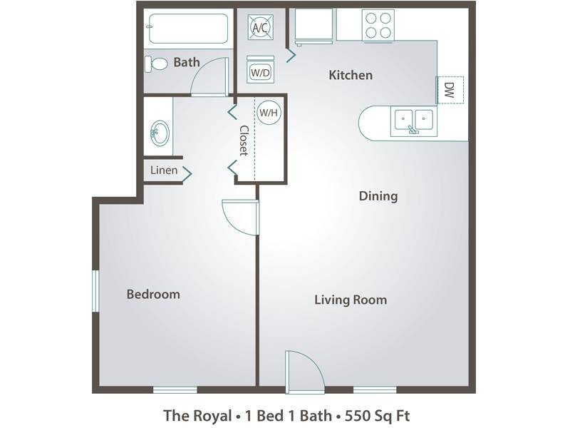 The Royal - 1 Bedroom / 1 Bathroom Image