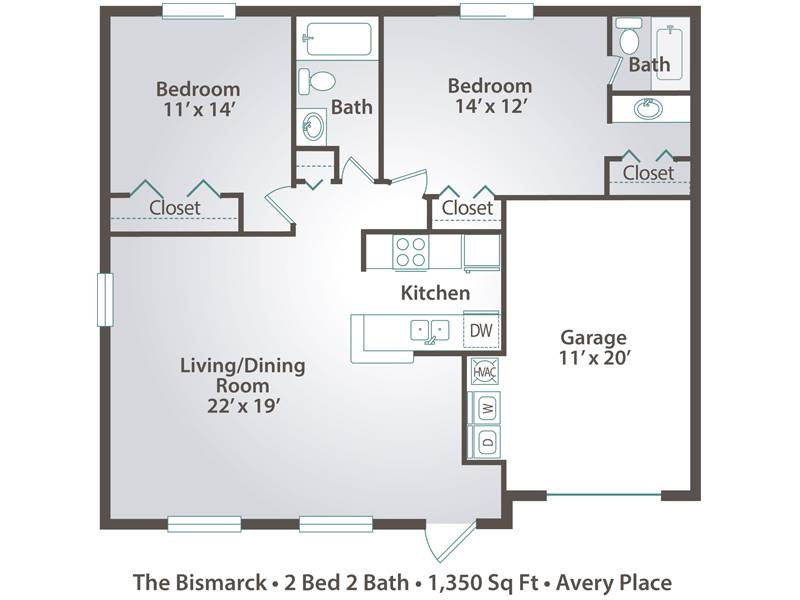The Bismarck - 2 Bedroom / 2 Bathroom Image