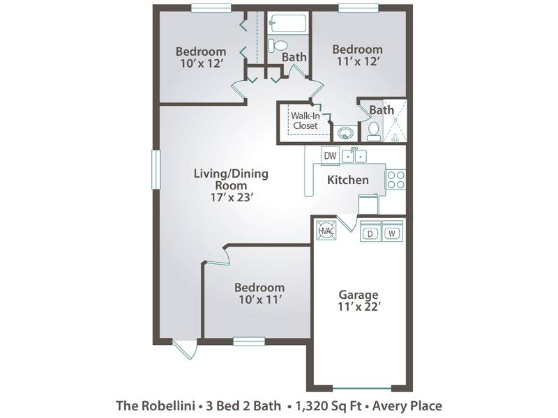 The Robellini - 3 Bedroom / 2 Bathroom Image