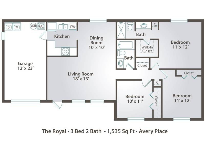 The Royal - 3 Bedroom / 2 Bathroom Image