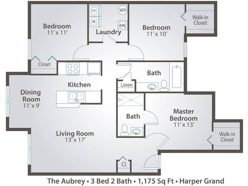 The Aubrey - 3 Bedroom / 2 Bathroom Image