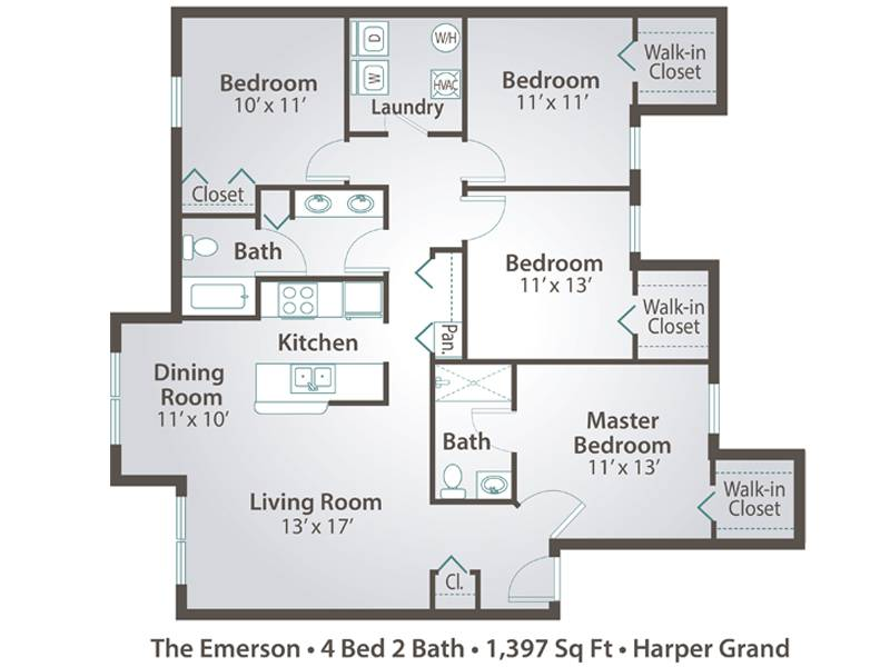 The Emerson - 4 Bedroom / 2 Bathroom Image