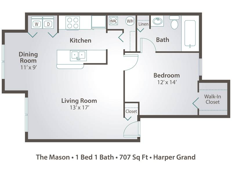 1 Bedroom Apartment Floor Plans & Pricing – Harper Grand, Orlando FL