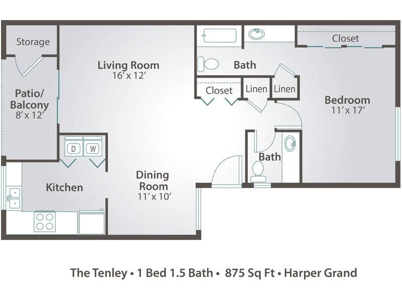 The Tenley - 1 Bedroom / 1.5 Bathroom Image