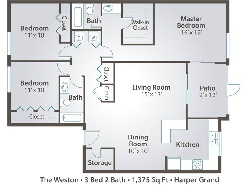 The Weston - 3 Bedroom / 2 Bathroom Image