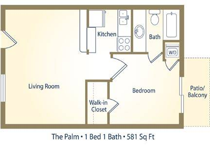 The Palm - 1 Bedroom / 1 Bathroom Image