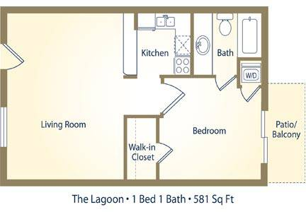The Lagoon - 1 Bedroom / 1 Bathroom Image