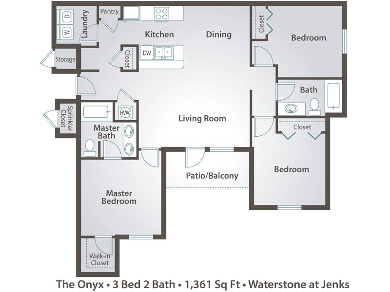 The Onyx - 3 Bedroom / 2 Bathroom Image