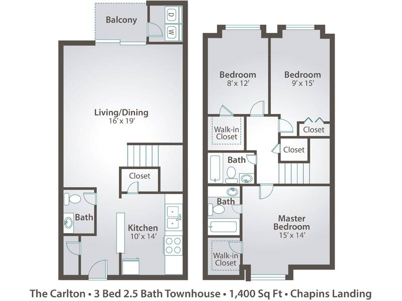 The Carlton - 3 Bedroom / 2.5 Bathroom Image