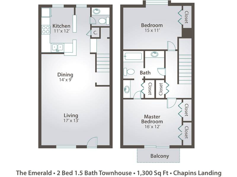 The Emerald - 2 Bedroom / 1.5 Bathroom Image