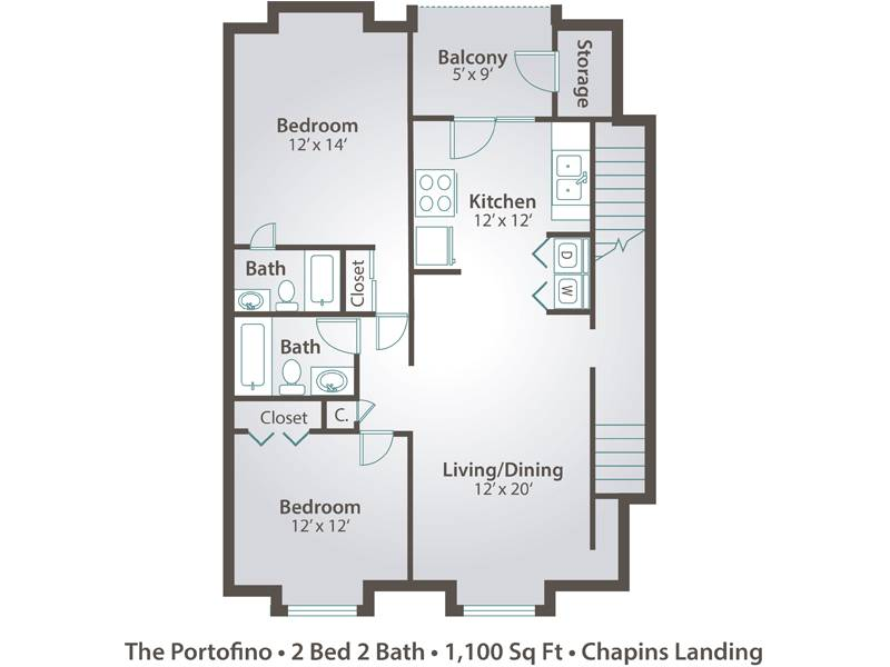 The Portofino - 2 Bedroom / 2 Bathroom Image
