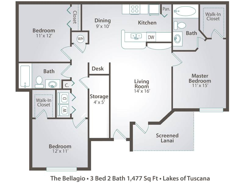 The Bellagio - 3 Bedroom / 2 Bathroom Image
