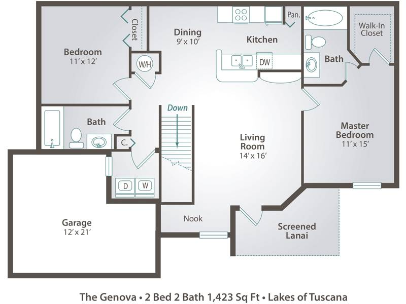 The Genova - 2 Bedroom / 2 Bathroom Image