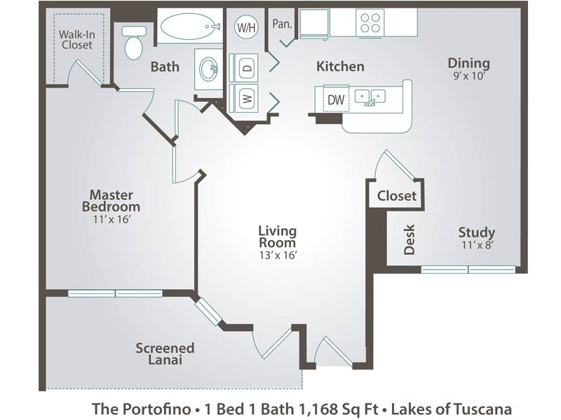 The Portofino - 1 Bedroom / 1 Bathroom Image