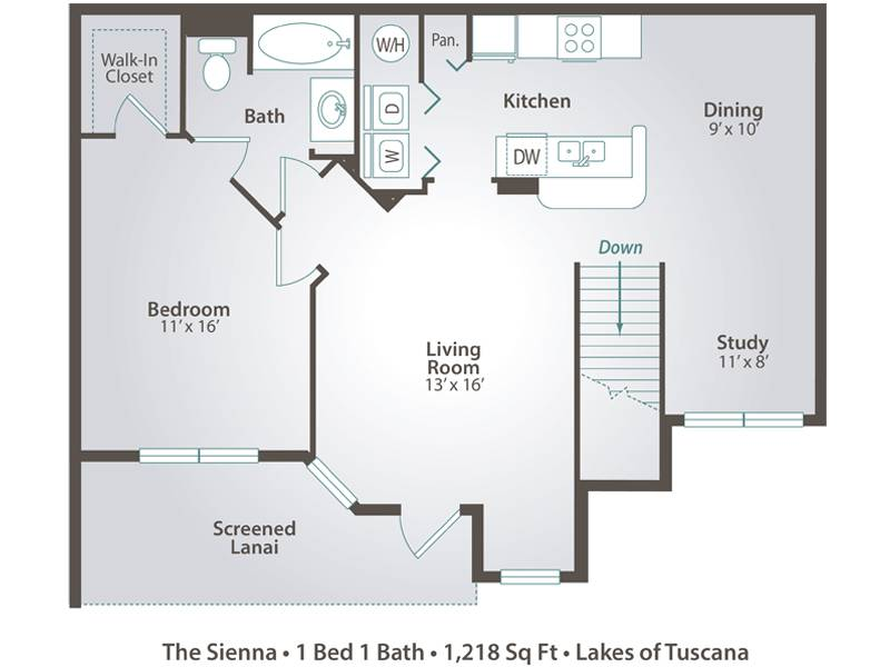 The Sienna - 1 Bedroom / 1 Bathroom Image