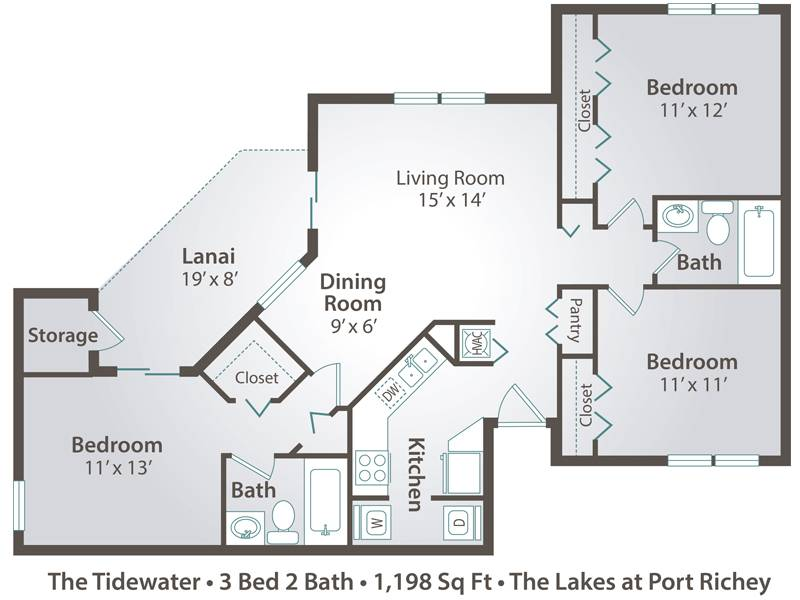 The Tidewater - 3 Bedroom / 2 Bathroom Image