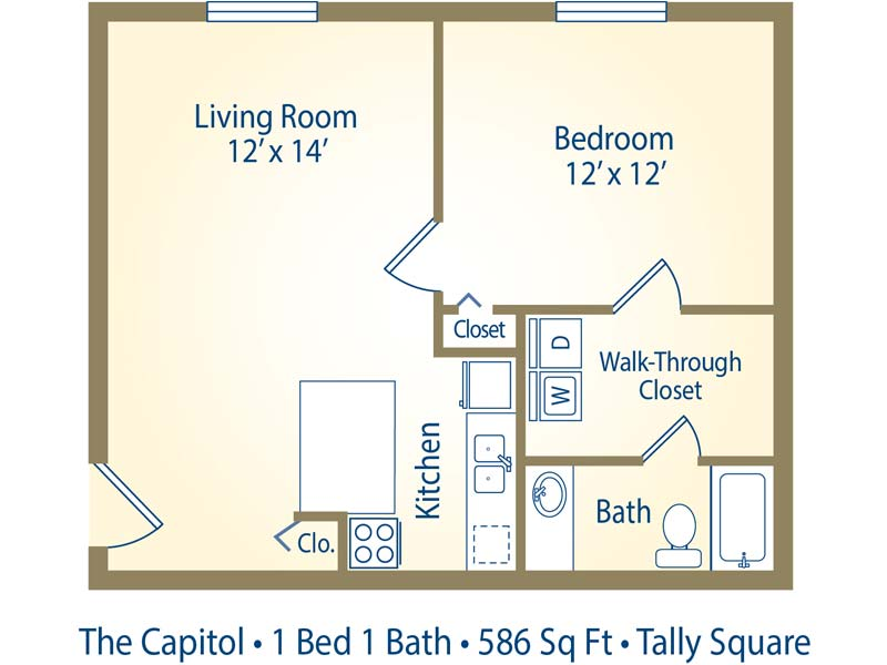 1 bedroom apartment floor plans with walk in closet 2 for Walk up apartment floor plans